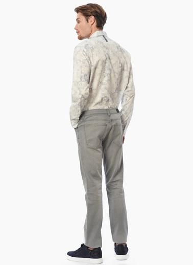 Que Slim Fit Desenli Uzun Kollu Gömlek Gri